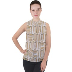 Texture Background Brown Beige Mock Neck Chiffon Sleeveless Top by HermanTelo