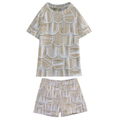 Texture Background Brown Beige Kids  Swim Tee And Shorts Set