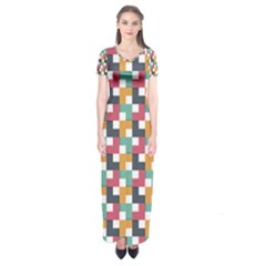 Abstract Geometric Short Sleeve Maxi Dress by HermanTelo