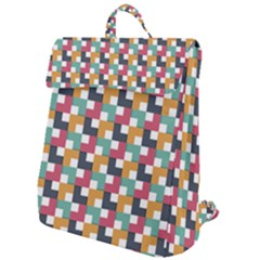 Abstract Geometric Flap Top Backpack