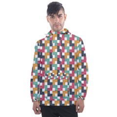 Abstract Geometric Men s Front Pocket Pullover Windbreaker