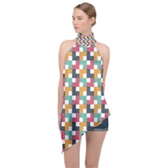 Abstract Geometric Halter Asymmetric Satin Top by HermanTelo