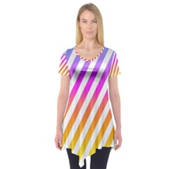 Abstract Lines Mockup Oblique Short Sleeve Tunic