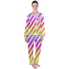 Abstract Lines Mockup Oblique Satin Long Sleeve Pyjamas Set by HermanTelo