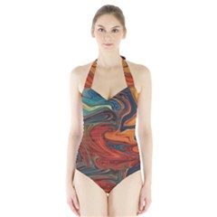 Abstract Art Pattern Halter Swimsuit by HermanTelo
