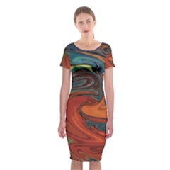 Abstract Art Pattern Classic Short Sleeve Midi Dress