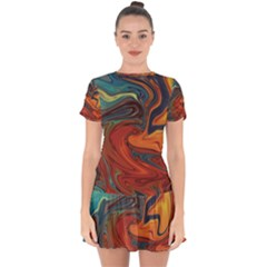 Abstract Art Pattern Drop Hem Mini Chiffon Dress