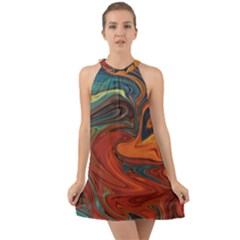 Abstract Art Pattern Halter Tie Back Chiffon Dress
