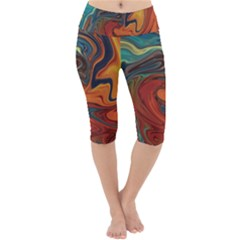 Abstract Art Pattern Lightweight Velour Cropped Yoga Leggings by HermanTelo