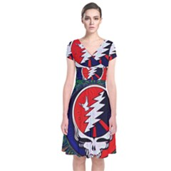 Grateful Dead Short Sleeve Front Wrap Dress