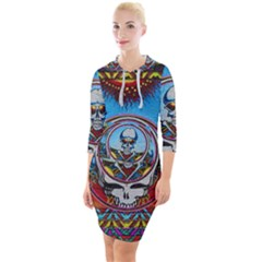 Grateful Dead Wallpapers Quarter Sleeve Hood Bodycon Dress