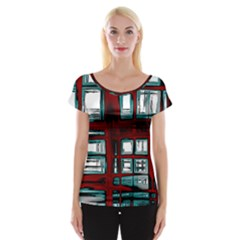 Abstract Color Background Form Cap Sleeve Top