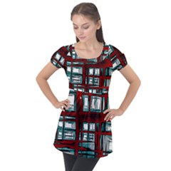 Abstract Color Background Form Puff Sleeve Tunic Top
