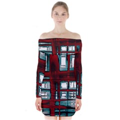 Abstract Color Background Form Long Sleeve Off Shoulder Dress