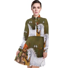 Cute Fairy With Unicorn Foal Long Sleeve Chiffon Shirt Dress