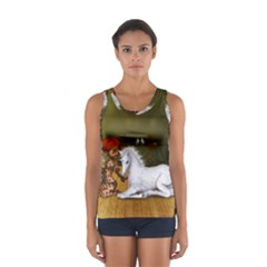 Cute Fairy With Unicorn Foal Sport Tank Top  by FantasyWorld7