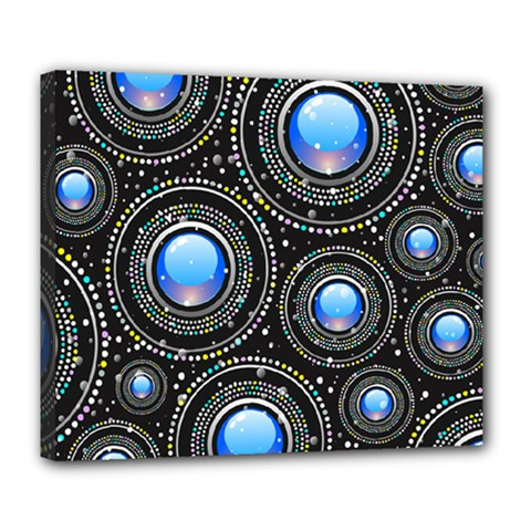 Abstract Glossy Blue Deluxe Canvas 24  X 20  (stretched)