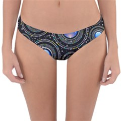 Abstract Glossy Blue Reversible Hipster Bikini Bottoms