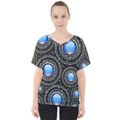 Abstract Glossy Blue V-neck Dolman Drape Top