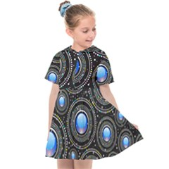 Abstract Glossy Blue Kids  Sailor Dress by HermanTelo
