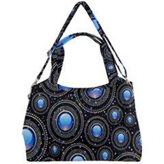 Abstract Glossy Blue Double Compartment Shoulder Bag by HermanTelo