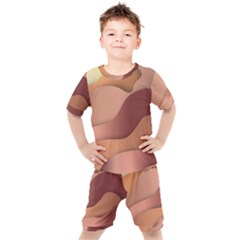 Autumn Copper Gradients Kids  Tee And Shorts Set by HermanTelo