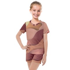 Autumn Copper Gradients Kids  Mesh Tee And Shorts Set