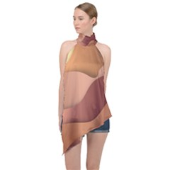 Autumn Copper Gradients Halter Asymmetric Satin Top by HermanTelo