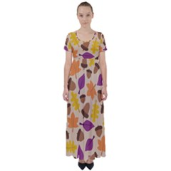 Acorn Leaves Pattern High Waist Short Sleeve Maxi Dress