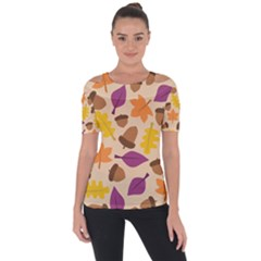 Acorn Leaves Pattern Shoulder Cut Out Short Sleeve Top