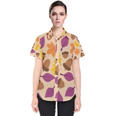 Acorn Leaves Pattern Women s Short Sleeve Shirt by HermanTelo