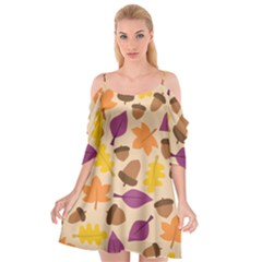 Acorn Leaves Pattern Cutout Spaghetti Strap Chiffon Dress by HermanTelo