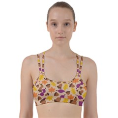 Acorn Leaves Pattern Line Them Up Sports Bra by HermanTelo