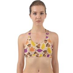 Acorn Leaves Pattern Back Web Sports Bra by HermanTelo