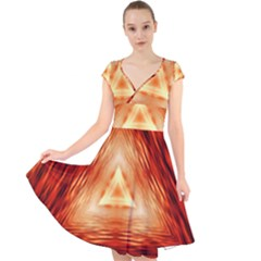 Abstract Orange Triangle Cap Sleeve Front Wrap Midi Dress