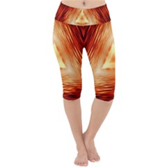 Abstract Orange Triangle Lightweight Velour Cropped Yoga Leggings