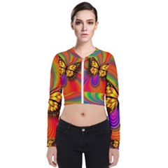 Arrangement Butterfly Long Sleeve Zip Up Bomber Jacket