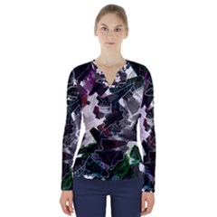 Abstract Science Fiction V-neck Long Sleeve Top