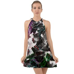 Abstract Science Fiction Halter Tie Back Chiffon Dress