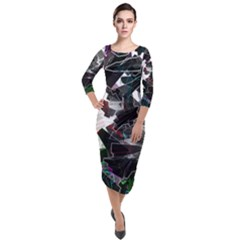 Abstract Science Fiction Quarter Sleeve Midi Velour Bodycon Dress by HermanTelo