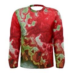 Abstract Stain Red Seamless Men s Long Sleeve Tee