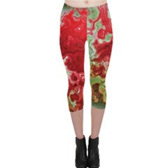 Abstract Stain Red Seamless Capri Leggings