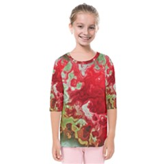 Abstract Stain Red Seamless Kids  Quarter Sleeve Raglan Tee