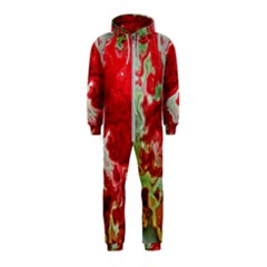 Abstract Stain Red Seamless Hooded Jumpsuit (kids)