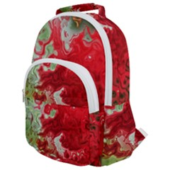 Abstract Stain Red Seamless Rounded Multi Pocket Backpack