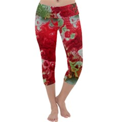 Abstract Stain Red Seamless Capri Yoga Leggings by HermanTelo