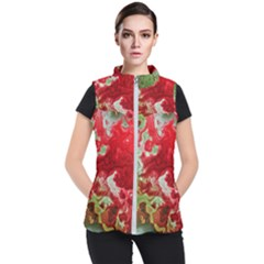 Abstract Stain Red Seamless Women s Puffer Vest