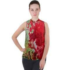Abstract Stain Red Seamless Mock Neck Chiffon Sleeveless Top