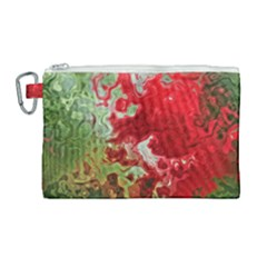 Abstract Stain Red Seamless Canvas Cosmetic Bag (large)