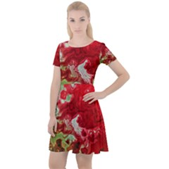 Abstract Stain Red Seamless Cap Sleeve Velour Dress